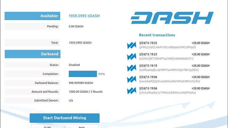 کیف پول دسکتاپ دش Dash Core