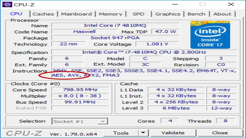 CPU-Z جزئیات را برای یک پردازنده Intel Haswell i7 نشان می دهد