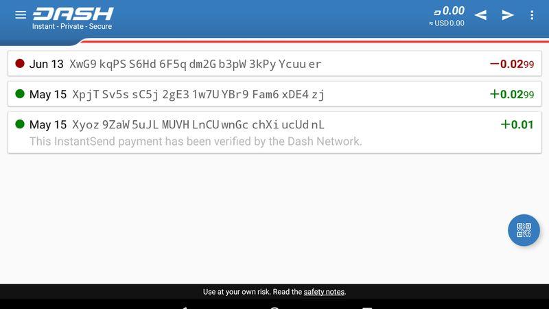 کیف پول رسمی اندروید Dash