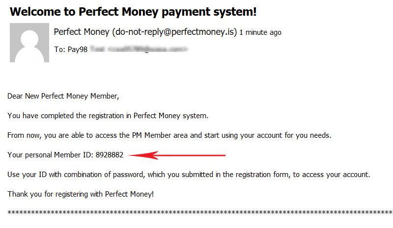 شناسه کاربری پرفکت مانی ایمیل شده