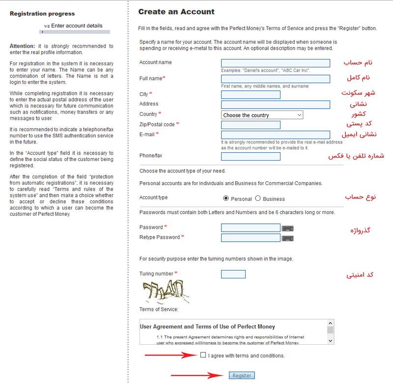 فرم ثبت نام و ساخت اکانت پرفکت مانی