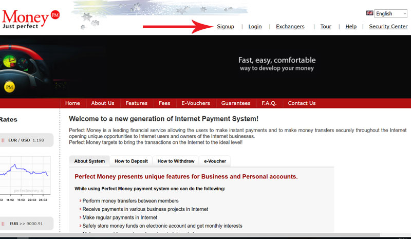 صفحه اصلی وبسایت Perfect Money