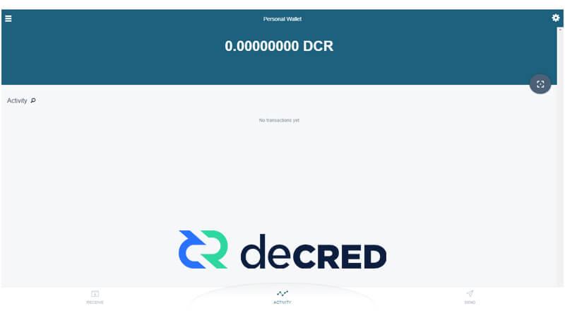کیف پول Decred Web Wallet