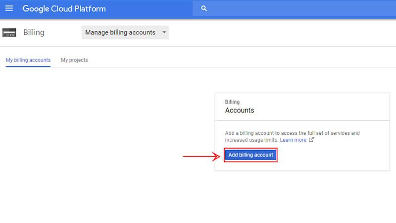 اضافه نمودن اطلاعات حساب در Google Cloud