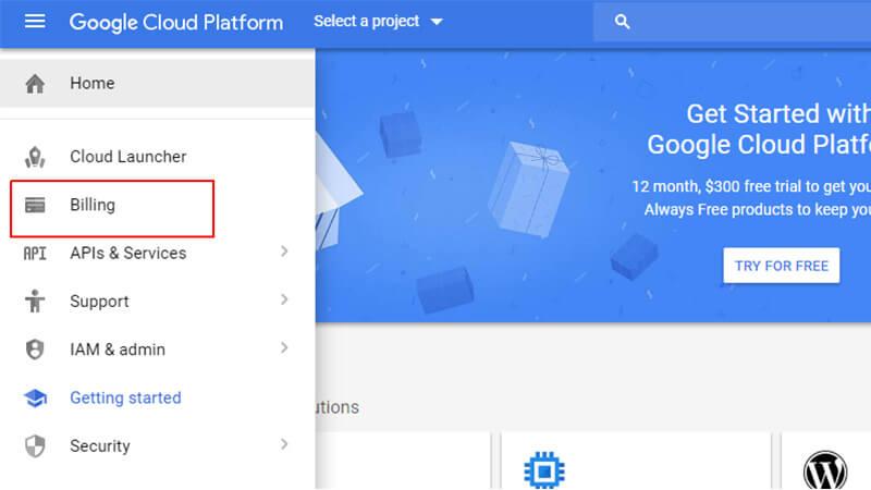 ورود به بخش Billing در پلتفرم Google Cloud