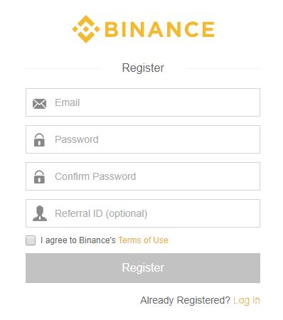 ثبت نام در بایننس