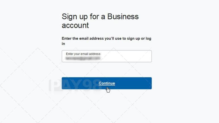 وارد کردن آدرس ایمیل در ثبت نام پی پال