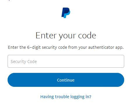 کد موقت برای وارد شدن به حساب پی پال