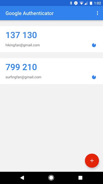 افزودن مورد در Google Authenticator