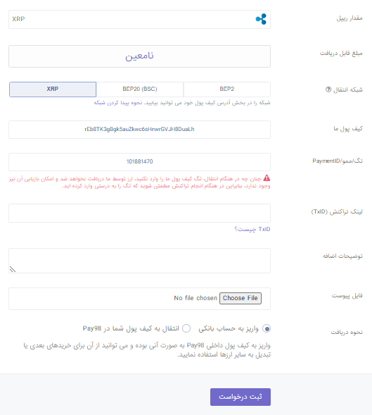 صفحه فروش ریپل در پی98