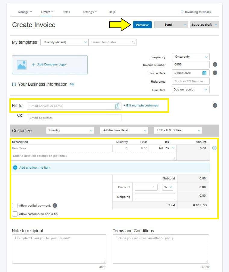 ایجاد invoice در پی پال