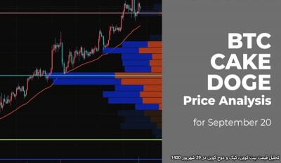 تحلیل قیمت بیت کوین، کیک و دوج کوین در 29 شهریور 1400