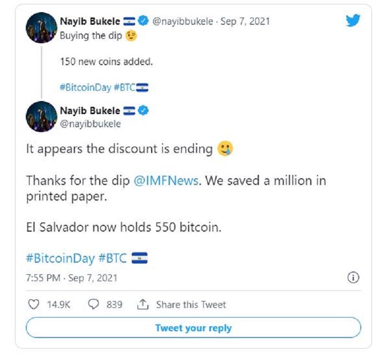 توییت رئیس جمهور السلوادور